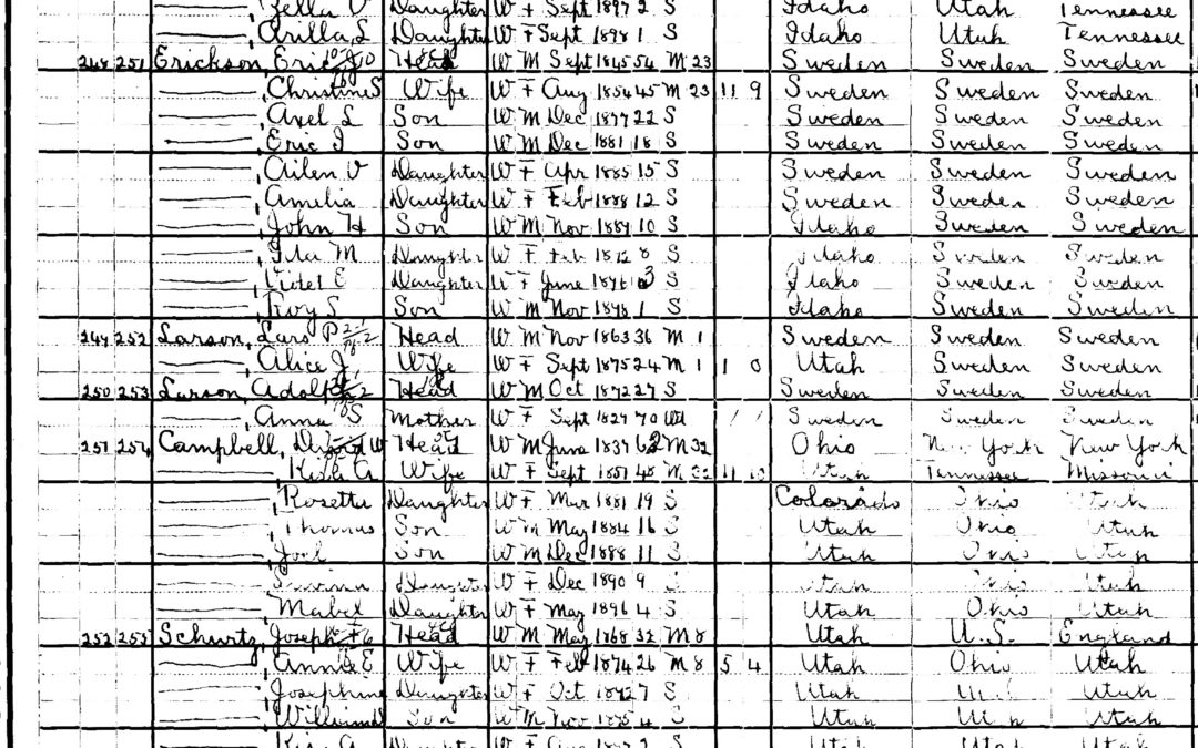 1900 U.S. Census Record-Aaron Alexander Tolman and Martha Mary Barrett