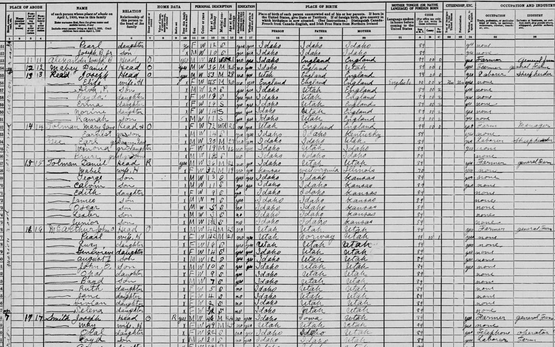 1930 U.S. Census record for Joshua Alvin Tolman, Mary Jane Gorringe, and Family
