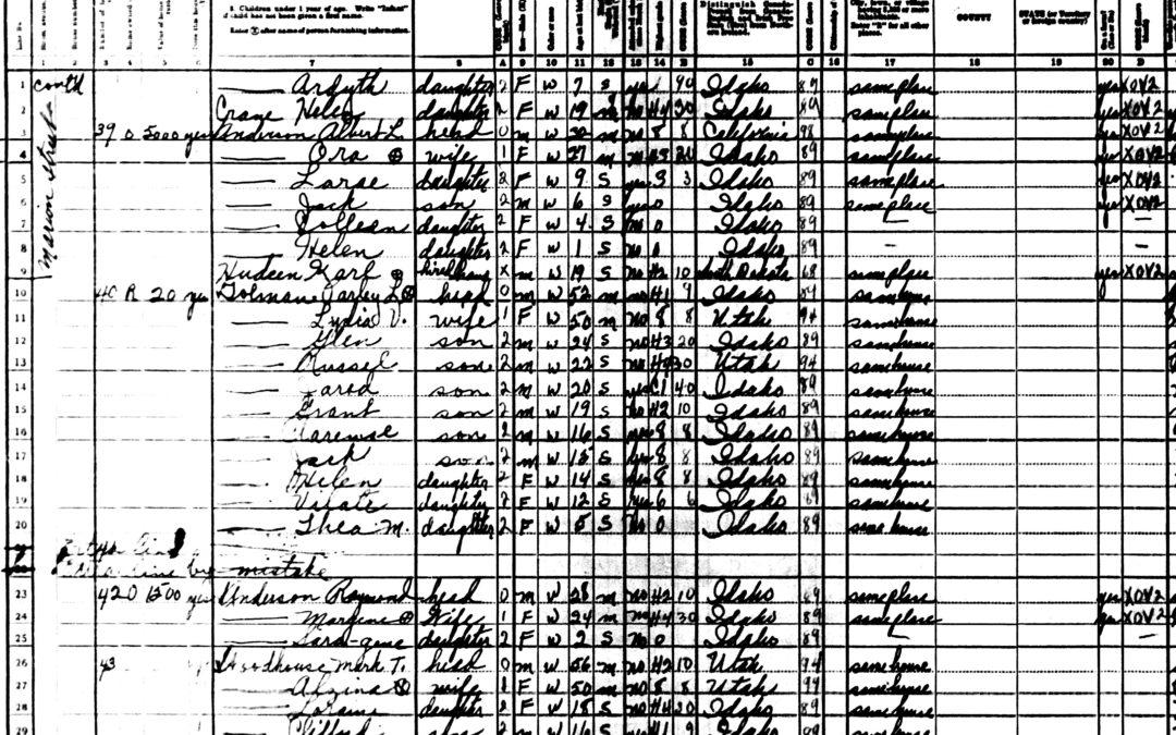 1940 U.S Census Record-Parley Lambert and Lydia Vilate Tolman