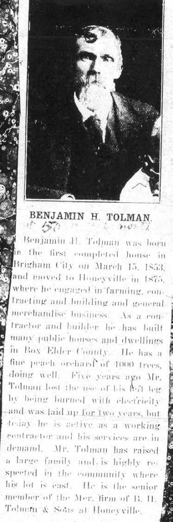 Benajamin Hewitt Tolman II-Obituary