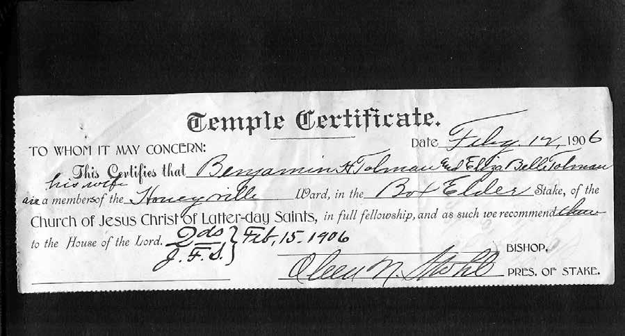 Benjamin Hewitt Tolman II and Eliza Belle Grant-Temple Certificate